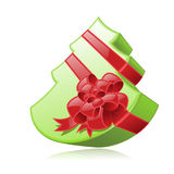 Green fir-form gift box. Isolated green fir-form box with red ribbon (Vector Vector Illustration