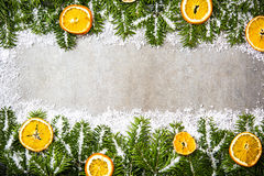 Green fir and snow Christmas background Stock Photo