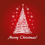 Green fir tree. Red fir tree for Merry Christmas 2 Royalty Free Stock Image