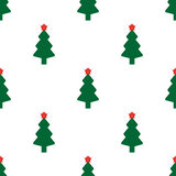 Green fir tree with red star. As seamless Royalty Free Stock Image