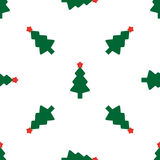 Green fir tree with red star. As seamless Royalty Free Stock Photos