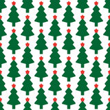 Green fir tree with red star. As seamless Stock Photos
