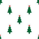 Green fir tree with red star. As seamless Royalty Free Stock Photo