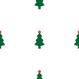 Green fir tree with red star. As seamless Royalty Free Stock Images