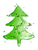 Green fir tree from water splash Stock Images