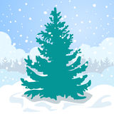 Green fir tree in the white snow drift. Royalty Free Stock Photos