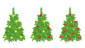 Green vector fir trees with christmas decorations. Green fir trees with christmas decorations - vector - eps 8 Royalty Free Stock Images