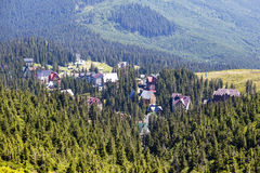 Green fir trees and houses of village Dragobrat against background of the Carpathian mountains in the summer. Ukraine Stock Photo