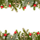 Green fir twig frame with christmas balls Stock Photography