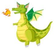 Green fire breathing dragon. Illustration stock illustration