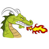 Green Fire Breathing Dragon Stock Photo