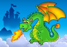 Green fire dragon with castle. Color illustration Stock Image