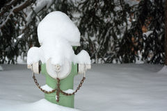 Green Fire Hydrant Covered In Snow Royalty Free Stock Photos