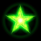 Green fire star. Illustration of green fire star on black background Stock Photo