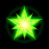Green fire star. Illustration of green fire star with weak radiance on black background Stock Photography