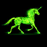 Green fire unicorn. Illustration of green fire unicorn on black background Royalty Free Stock Images
