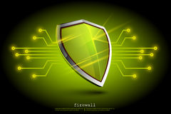 Green firewall shield backdround. internet security. Shield on the background of the map represents a danger Royalty Free Stock Photos