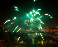 Green firework. Royalty Free Stock Photography