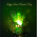 Green firework in leprechaun hat. For Saint Patrics Day Stock Images