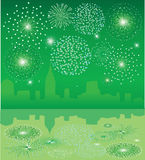 Green fireworks. Over city with reflection Stock Photography