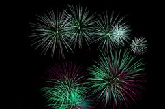 Green fireworks display. Green fireworks with copy space, native space, black background Royalty Free Stock Photography