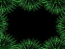 Green fireworks frame. Frame (border) composed of green firework flares isolated on black background with empty copyspace in the middle to insert some text or Stock Image