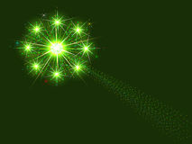 Green fireworks. Illustration of green fireworks exploding in night sky vector illustration