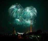 Green fireworks in Moscow. Green fireworks on Poklonnaya Gora mountainin Moscow stock photo