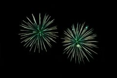 Green fireworks with native space. Green fireworks with copy space native space Stock Image