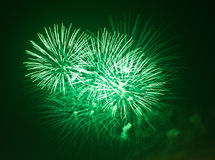 Green fireworks at night. Green fireworks explode at night Stock Image