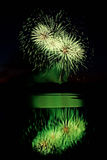 Green Fireworks Over Water Royalty Free Stock Photography
