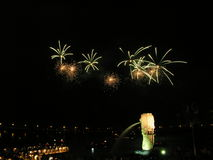 Green fireworks in Singapore. This is a picture of a fireworks display in front of the Singapore marina bay Stock Photos