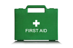 Green First Aid Box. Green first aid kit box against a white background stock image