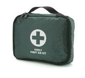 Green first aid kit isolated on white (path) Stock Photo