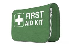 Green First Aid Kit Soft Bag with White Cross. 3d Rendering. Green First Aid Kit Soft Bag with White Cross on a white background. 3d Rendering Stock Images