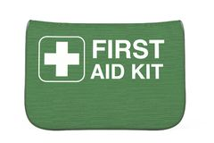 Green First Aid Kit Soft Bag with White Cross. 3d Rendering. Green First Aid Kit Soft Bag with White Cross on a white background. 3d Rendering Royalty Free Stock Images