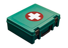 Green first kid with clipping path. A green standard First aid kit, used to provide urgent emergency treatment at school, work or in the home. Isolated with Stock Photo
