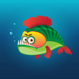 Green fish. With a red fins. Vector illustration Royalty Free Stock Photos
