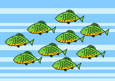Green fish. In blue sea Stock Photography