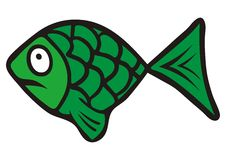 Green fish. Amusing illustration. The expression on his face Stock Photography