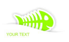 Green fish bone sticker notification. With light shadow effect Royalty Free Stock Photo