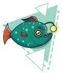 Green fish on a geometric background. deep-sea fish cartoon Stock Image