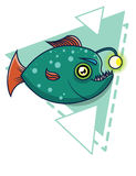 Green fish on a geometric background. deep-sea fish cartoon Stock Images