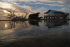 Green Fish House. Afternoon sunset over the Green Fish House in Pine Island Sound Stock Images