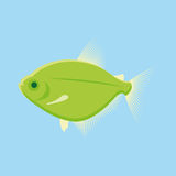 Green Fish Isolated On Blue Background. Vector Green Fish Isolated On Blue Background Royalty Free Stock Photos