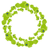 Green fish in ring on white background. Vector illustration Stock Photography