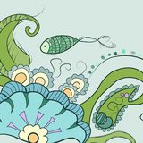 Green fish. Swims at water royalty free illustration