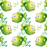 Green fishes with big fangs Royalty Free Stock Photography
