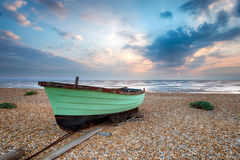 Green Fishing Boat at Lydd Stock Photo