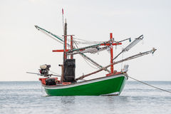 Green fishing boat thai on the sea Royalty Free Stock Images